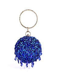 cheap -Women's Bags Polyester Evening Bag Sequin Chain Color Block Handbags Wedding Party Black Blue Red Yellow