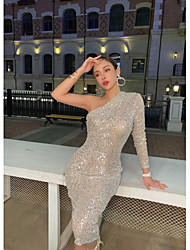 cheap -Sheath / Column Sexy Sparkle Party Wear Cocktail Party Dress One Shoulder Long Sleeve Knee Length Sequined with Sequin 2020