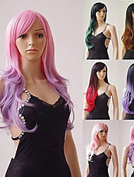 cheap -28'' / 70cm long full wig with bangs pink ombre purple natural wave heat resistant synthetic wig dyeing color curly wavy cosplay wigs costume dress,pink mix purple