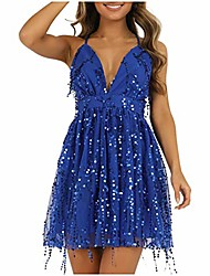 cheap -summer v-neck spaghetti straps sequins embellished backless party club beach mini dresses blue