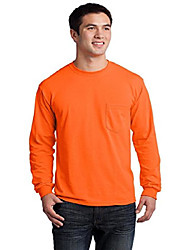 cheap -mens ultra cotton 100% cotton long sleeve t-shirt with pocket, xl, safety orange