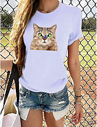 cheap -Women's T shirt Graphic Prints Round Neck Tops 100% Cotton Basic Top Cat White Blue