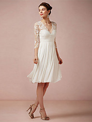 cheap -A-Line Wedding Dresses V Neck Knee Length Lace 3/4 Length Sleeve Beach Little White Dress Illusion Sleeve with 2021