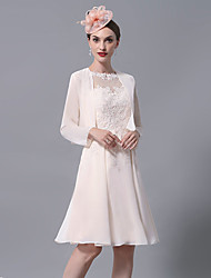 cheap -A-Line Mother of the Bride Dress Wrap Included Jewel Neck Knee Length Chiffon Lace Long Sleeve with Appliques Ruching 2020 Mother of the groom dresses