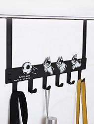 cheap -Modern Door Hook Organizer Rack, Clothes Hanger, Coat Hook, Use in Bathroom and Bedroom, 6 Hooks, Black White - 1pc