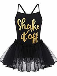 cheap -kids girls' spaghetti straps criss cross back shiny letters gymnastics leotard tutu dress ballet dance dancewear black 3-4