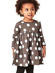 cheap -girl fall winter 50s polka dot cotton dress,cotton cute casual long sleeve tunic outfit 2t