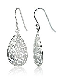 cheap -rose gold flashed sterling silver filigreeteardrop earrings