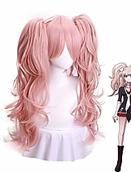 cheap -cosplay wig light pink wig long wave with ponytails for halloween custom party synthetic hair anime wigs
