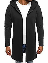 cheap -men's casual zip up hoodie jacket long hooded sweatshirt fashion autumn winter cardigan outwear with pockets (black, m)