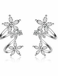 cheap -flower fariry cz ear cuff wrap earrings for women girls fashion cubic zirconia clip crawler climber hypoallergenic (silver)