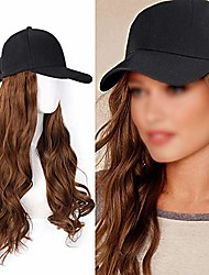 cheap -baseball hats wigs, black hat with hair attached for women synthetic hair, long wavy hair for women daily party use (long (20 inch), brown)