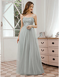 cheap -A-Line Spaghetti Strap Floor Length Tulle Bridesmaid Dress with Sequin / Draping / Appliques