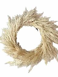 cheap -pampas grassland wreath wall dried flowers crafts office autumn wedding decoration home window shopping mall christmas pendant decoration rattan circle