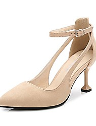 cheap -women's pointed toe ankle strap kitten mid heel pumps velvet beige tag 42 - us 9