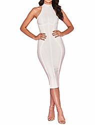 cheap -women's spaghetti strap bodycon bandage dress (white, x-large)