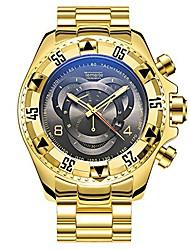 cheap -watch men's three eyes decoration large dial men's sports steel band quartz gold watch (black)