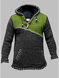 cheap -Men's Knitted Color Block Pullover Long Sleeve Plus Size Sweater Cardigans Hooded Fall Winter Green