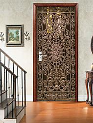 cheap -Golden Wrought Iron Door Self-adhesive Creative Door Stickers Living Room DIY Decorative Home Waterproof Wall Stickers