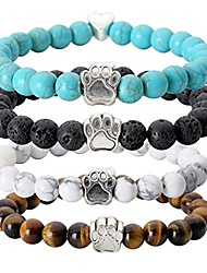 cheap -5pc men women gold plated lion head black lava/matte agate/picture stone/dragon grain stone/turquoise energy stone beads stretch bracelet 8mm