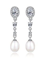 cheap -crystal sterling silver freshwater pearl 9mm teardrop dangle earrings bridal ear studs betrothal jewels (white)