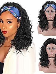 preiswerte -Aisaide Body Wave Stirnband Perücken für schwarze Frauen, lose Welle Stirnband Perücke lange lockige Perücke Headwrap Perücke Wrap Perücke schwarz synthetische natürliche Welle Perücke Turban Perücke