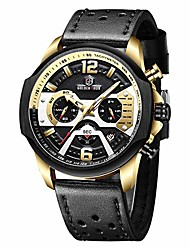 cheap -men's watches quartz analog leather chronograph waterproof sports military tactical design date, 24hours, multi function wrist watch in gold black