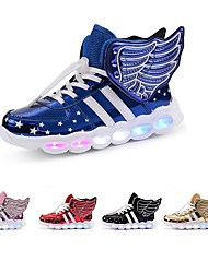 cheap -Boys' Girls' Sneakers LED Shoes USB Charging Christmas PU LED Shoes Little Kids(4-7ys) Big Kids(7years +) Daily Walking Shoes LED Luminous Black Red Blue Spring Winter