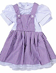 cheap -girls striped dress vintage overalls strap a-line gingham strappy suspender skirt short sleeve (purple, s)