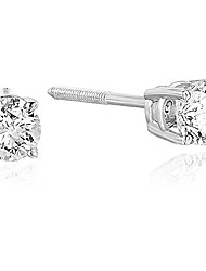cheap -1/2 cttw diamond stud earrings 14k white gold round shape with screw backs
