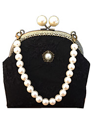 cheap -Women's Bags Polyester Top Handle Bag Pearls Beading Plain Daily 2021 Handbags White Black Blue