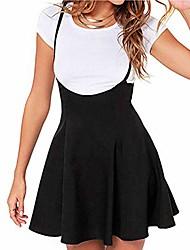 cheap -women's basic versatile flared casual mini skater skirt high waist short a line suspender strappy mini dress (black, s)