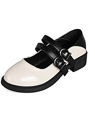 cheap -Women's Flats Block Heel Round Toe Casual Daily Walking Shoes PU White Black Pink