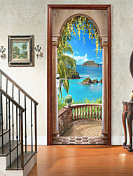 cheap -Sea View Arch Self-adhesive Creative Door Stickers For Living Room Diy Decorative Home Waterproof Wall Stickers