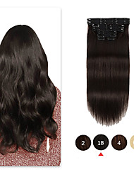 cheap -Clip In Hair Extensions Remy Human Hair 8pcs 7 PCS Pack Straight Natural Hair Extensions