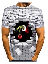 cheap -Men's 3D Graphic Animal T-shirt Print Short Sleeve Christmas Tops Round Neck White