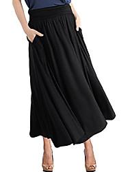 cheap -women's high waist fold over shirring maxi skirt with pockets ,mauve-maxi,xx-large