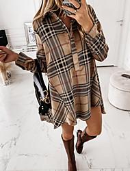 cheap -Women's A Line Dress Knee Length Dress Long Sleeve Geometric Fall Spring Elegant Vintage 2021 Brown S M L XL XXL