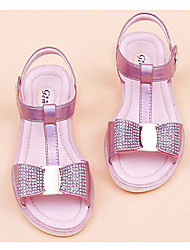 cheap -Girls' Flats Princess Shoes Cowhide Little Kids(4-7ys) Daily Walking Shoes Pink Gold Silver Spring Summer / Rubber