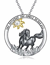 cheap -horse necklace sterling silver black horse pendant she believe she could so she did necklace for women