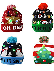 cheap -Christmas Hat LED Knitted Beanie Hat Christmas Gift Illuminated One Size Warm Hat New Year Gifts for Kids Adults Christmas Holiday Fashion Outwear