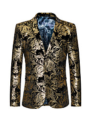 cheap -men's dress floral suit single-breasted 3 pieces slim fit 2 buttons suit gold