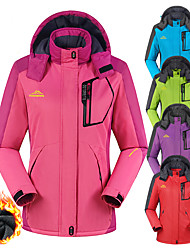 cheap -Women's Hoodie Jacket Hiking Jacket Winter Outdoor Thermal Warm Windproof Fleece Lining Breathable Jacket Winter Jacket Top Full Length Visible Zipper Camping / Hiking Climbing Cycling / Bike Purple