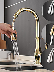 cheap -Single Handle Kitchen Faucet Vessel Installation Nickel Brushed/Electroplated One Hole Widespread Pull Out/High Arc, Brass Kitchen Faucet Contain with Cold and Hot Water