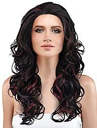 cheap -brazilian body wave lace front wig,natural looking synthetic fiber curly long hair wig for black women african american beauty 19 inch black highlights