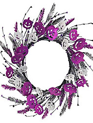 cheap -halloween door wreath, 20 inches fall wreath for fall halloween, front door decorations hanging,farmhouse wreath with purple argent pumpkin