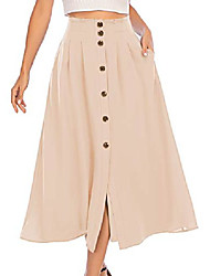 cheap -fit and flare midi ruffle skirt women maxi wrap long summer skirt champagne s