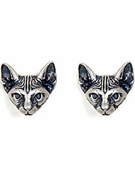 cheap -925 sterling silver stud earrings cat punk retro novelty