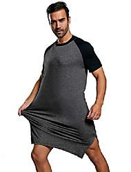 cheap -mens sleepshirt short sleeve nightgown long night shirts night sleepwear crew neck raglan nightwear
