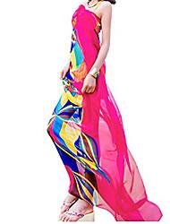 cheap -chiffon sarong pareos women cover up geometrical design plus size light wrap skirt (red)